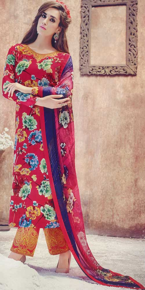 Jinaam Collection's Red Suit with Flora Print