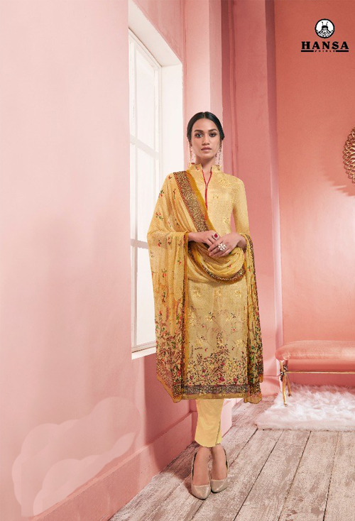 Flaxen Yellow Upada Silk Designer Suit