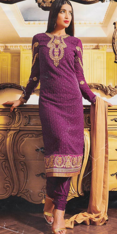 Deep Purple Designer Exclusive Fancy Traditional suit by Zubeda collection