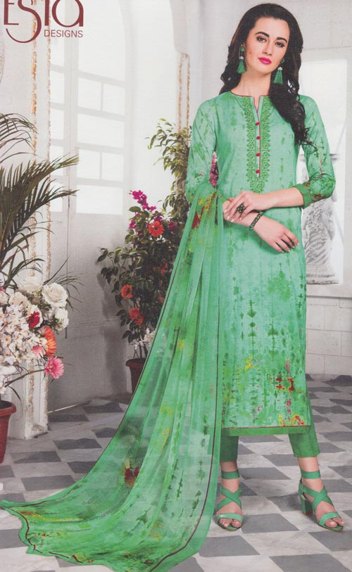 Pastel green-magenta mix exclusive fancy traditional suit by Esta design