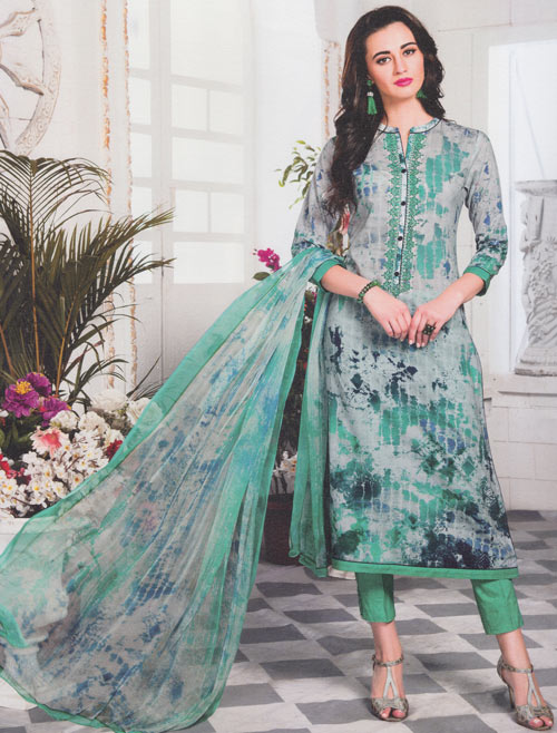 Grey-green mix exclusive fancy traditional suit by Esta design