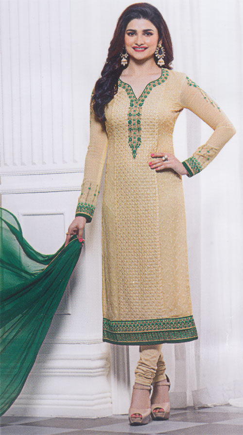 Cream and bottle green exclusive fancy party suit by Vinay fashion