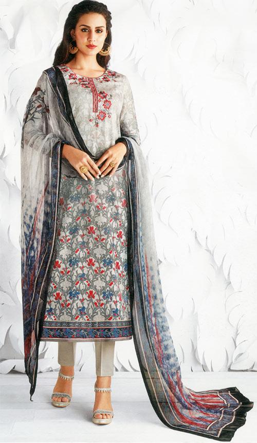 Metallic silver exclusive fancy traditional suit by Jinaam's fashion