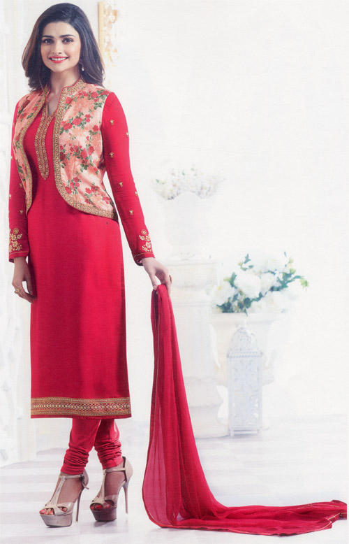 Shocking pink exclusive fancy party suit by Vinay fashion