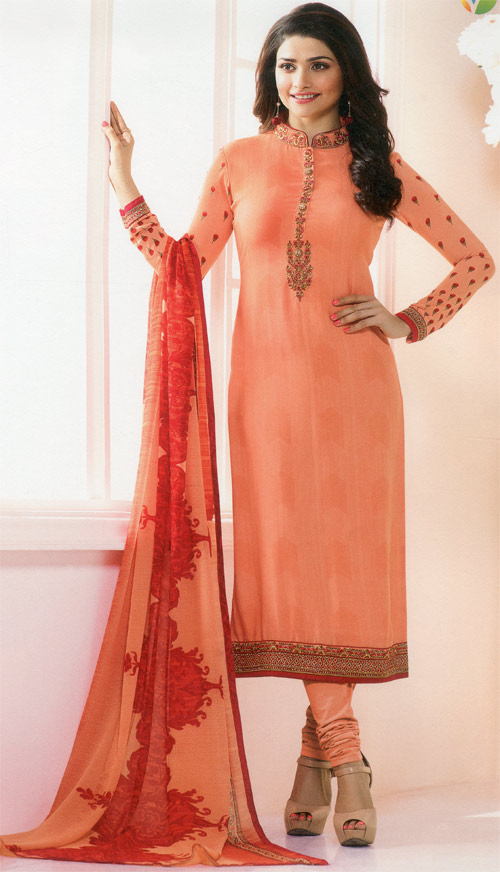 Coral orange exclusive fancy party suit by Vinay fashion