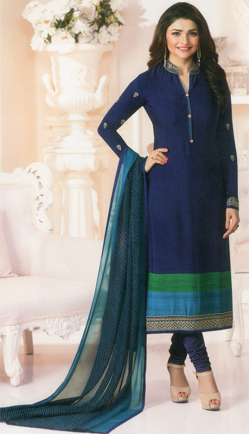 Navy blue mix exclusive fancy party suit by Vinay fashion
