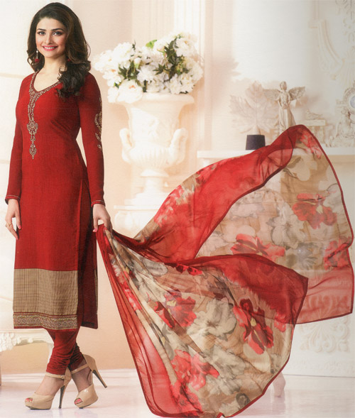 Ruby red exclusive fancy party suit by Vinay fashion