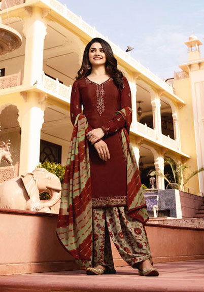 Exclusive Brown and Saddle Brown embroidery work on crepe georgette