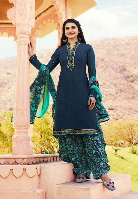Exclusive Sweet Prussian Blue color dress from Vinay Collection