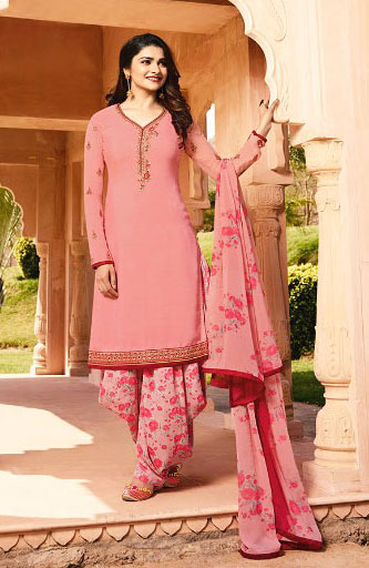 Exclusive Coral pink color beautiful salwar suit from Vinay Collection