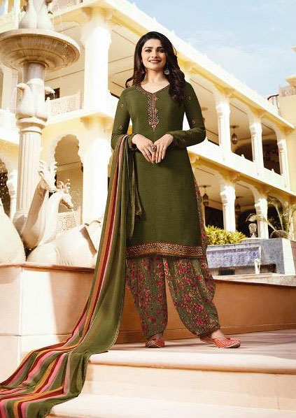 Exclusive Olive Color salwar suit from Vinay Collection.