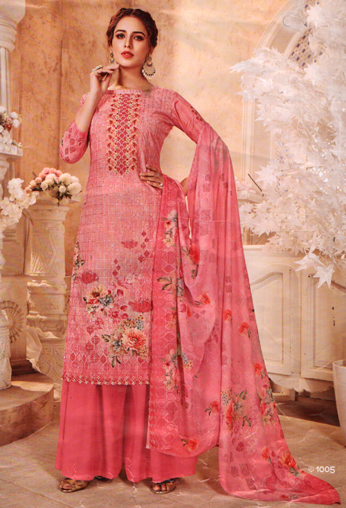 Salmon-Pink Suit With Hand Work