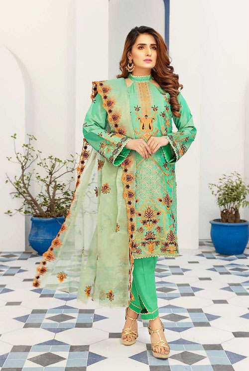 Emerald Green Hand Work Embroidered Suit