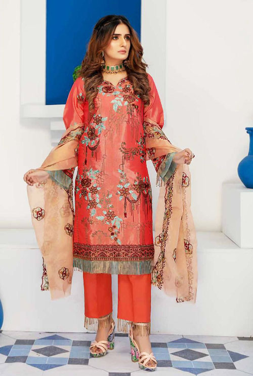 Watermelon Pink Hand Work Embroidered Suit