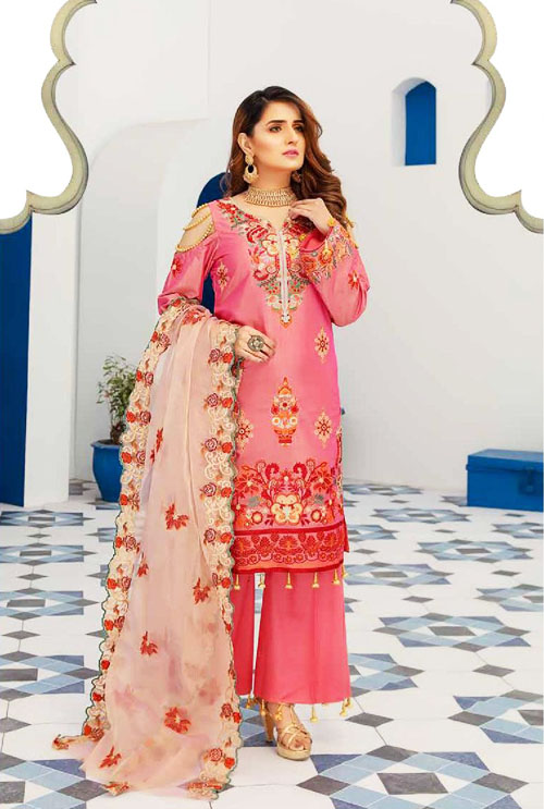 Hot Pink Color Hand Work Embroidered Suit