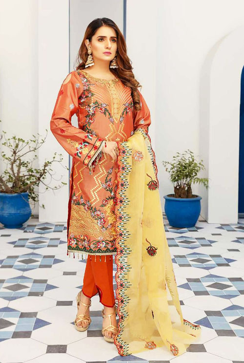 Halloween Orange Color Hand Work Embroidered Suit