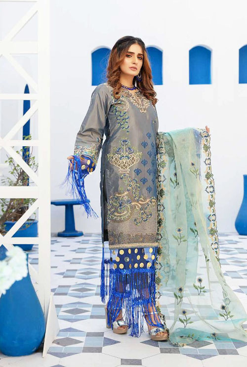 Steel Blue Hand Work Embroidered Suit