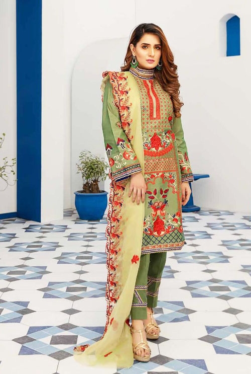 Dark Sea Green Hand Work Embroidered Suit