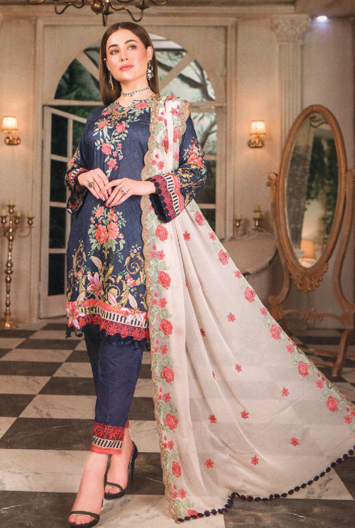 Navy Blue Embroidered Suit For Her