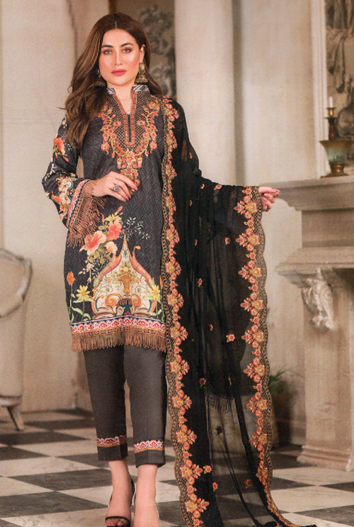Black Color Embroidered Suit For Her