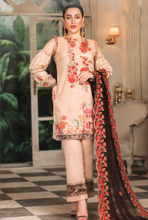 Sandy Brown Embroidered Suit For Her