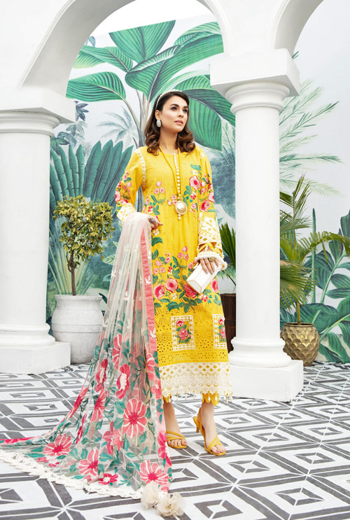 Honey Comb Schiffli Embroidered Lawn