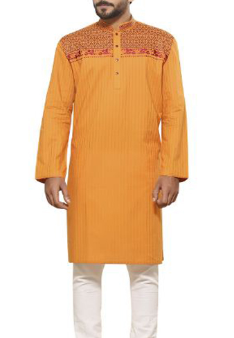 Cotton panjabi in mustard colour