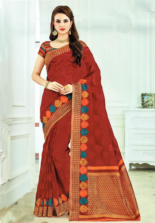 Exclusive Maroon Golden jute cotton in trendy design from Rajguru Sangam