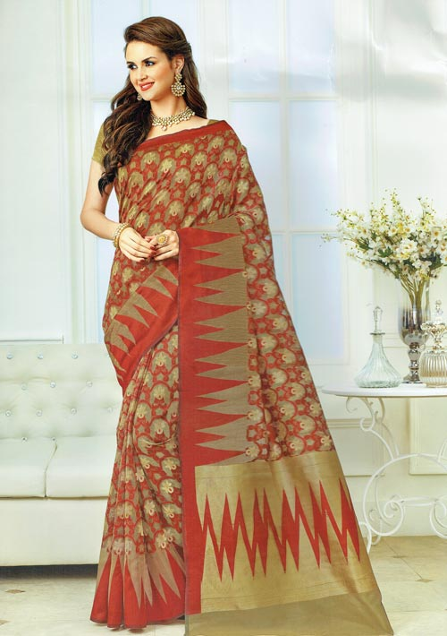 Exclusive Brown jute cotton  with all over maroon golden trendy design from Rajguru Sangam