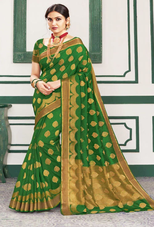 Basil green silk katan