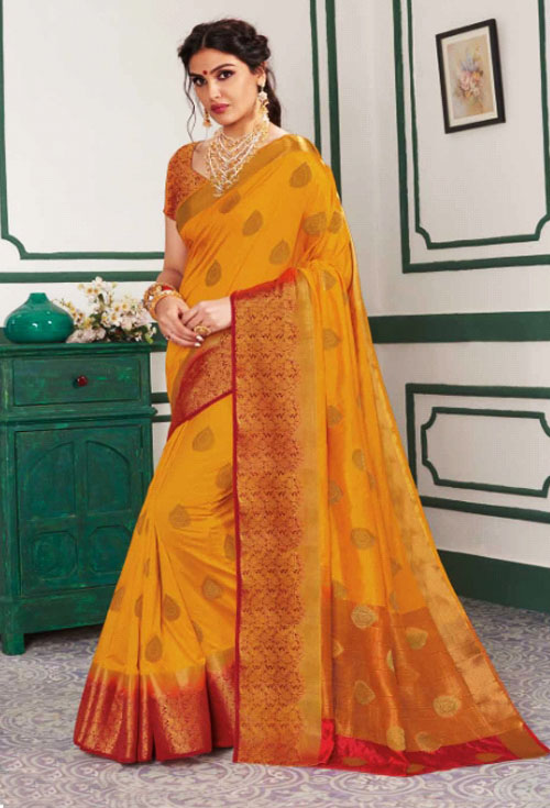 Honey color silk katan