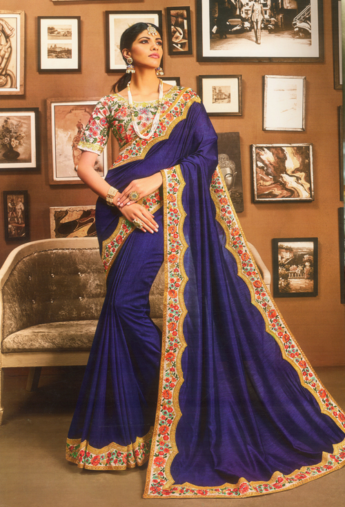Navy blue party saree