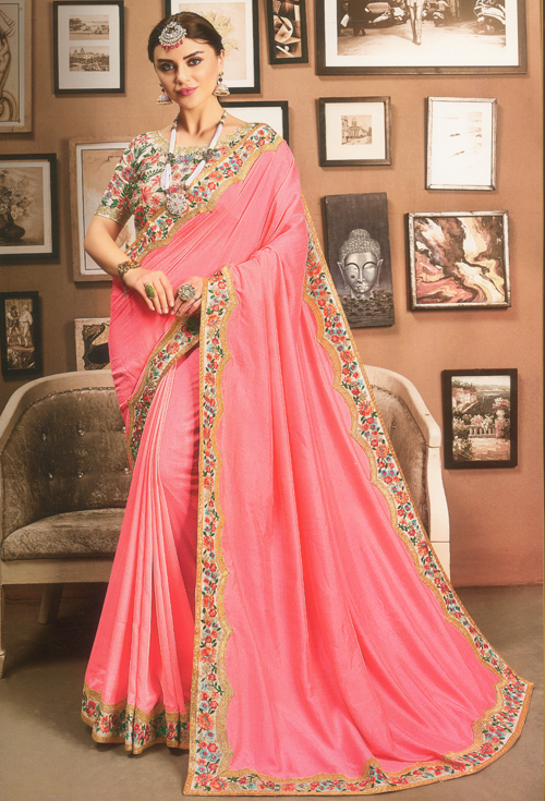 Baby pink party Saree