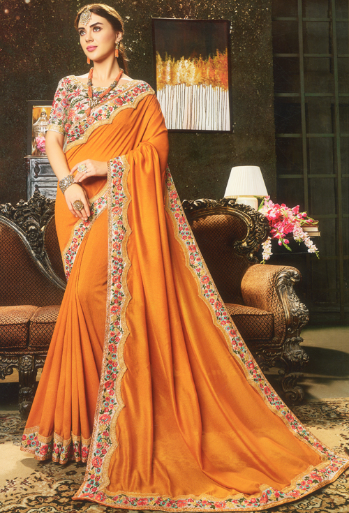 Bronze color party Saree