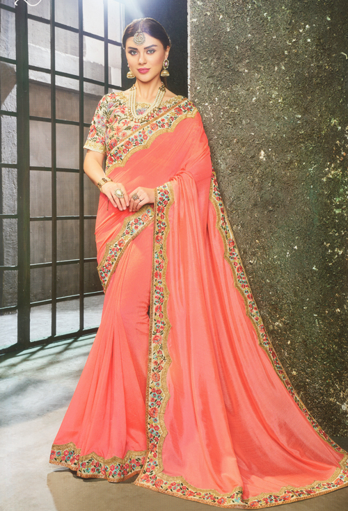 Gorgeous Peach color party saree