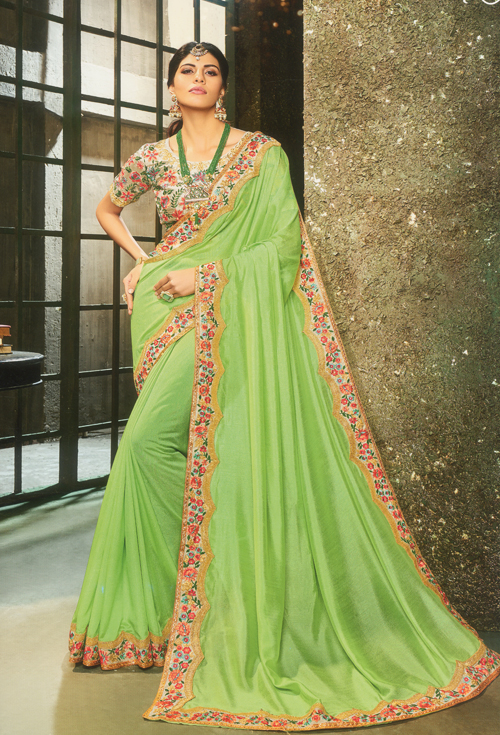 Parrot green party saree