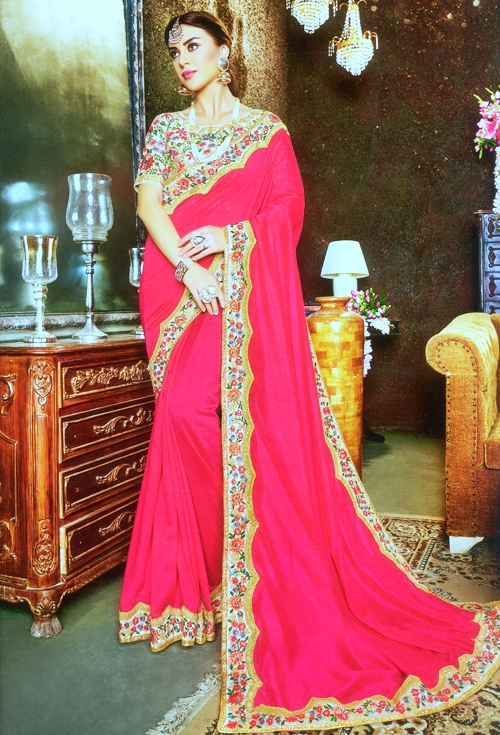 Pink Stylish Border work Saree