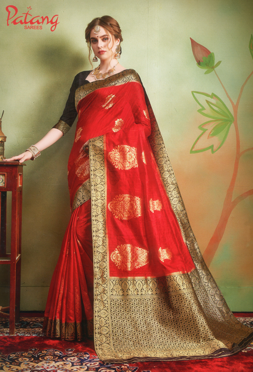 Vermilion Red Banarasi Silk Saree
