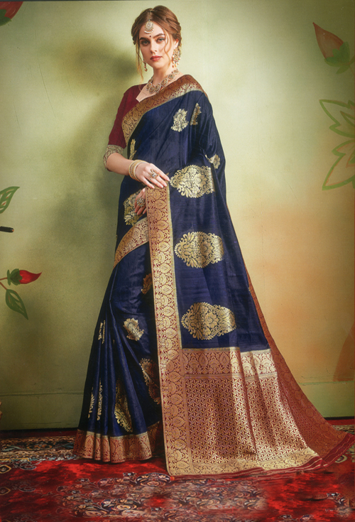 Deep Navy Blue Banarasi Silk Saree