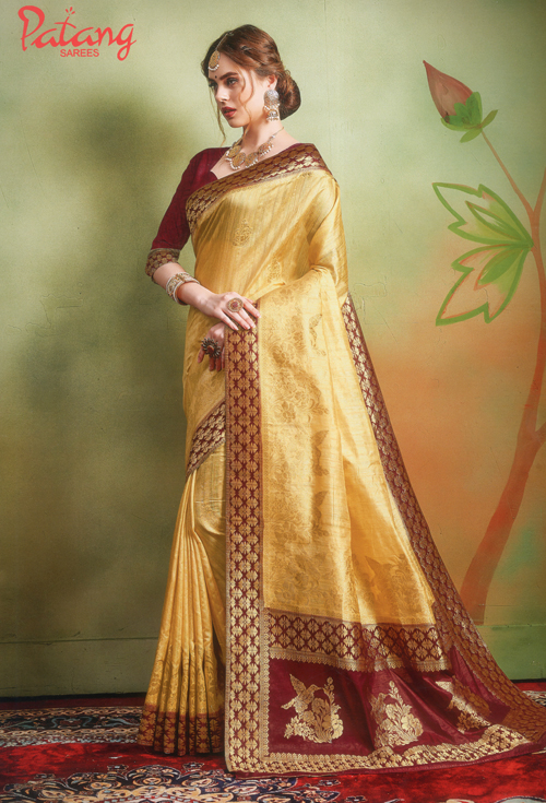 Golden Banarasi Silk Saree