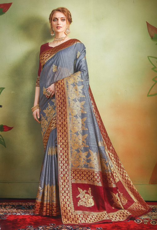 Silver Color Banarasi Silk Saree