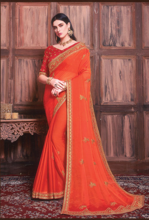Orange Color Designer Saree
