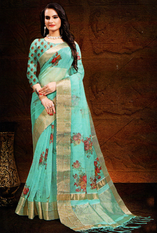 Paled Turquoise Color Fancy Saree