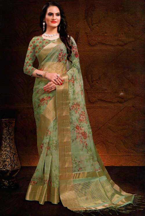 Fern Color Fancy Saree For Her
