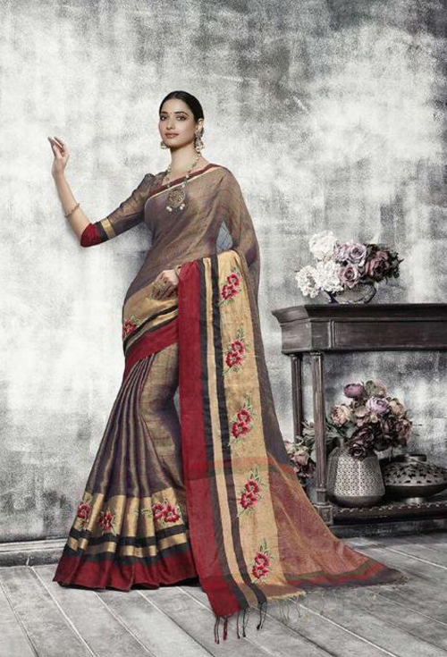 Red & Golden Mixed Color Saree