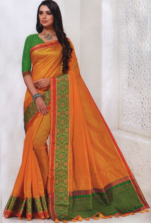 Amber Color Saree For Her