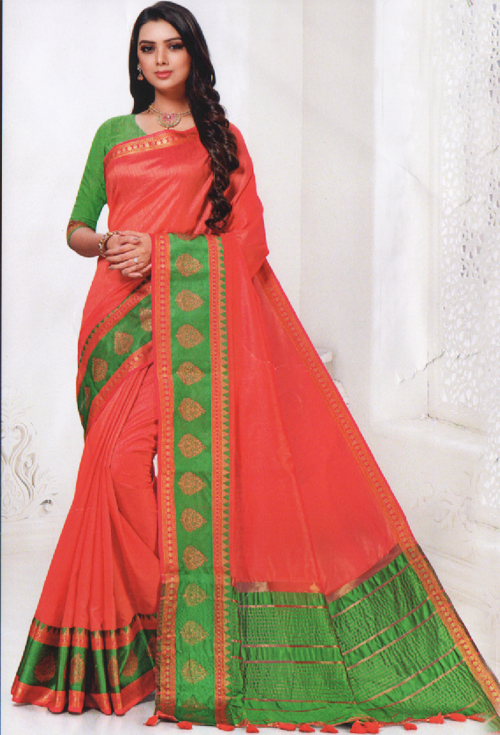 Watermelon-pink Color Saree For Her