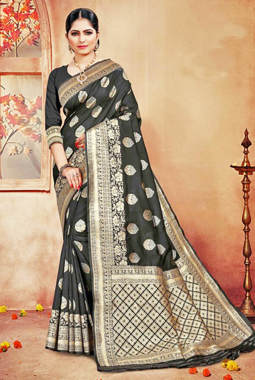 Pure Black Banarasi Silk Saree