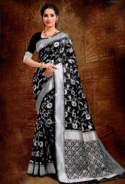 Charcoal Banarasi Silk Saree
