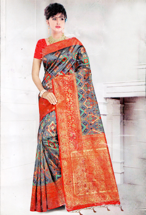 Porpoise Color Banarasi Silk Saree